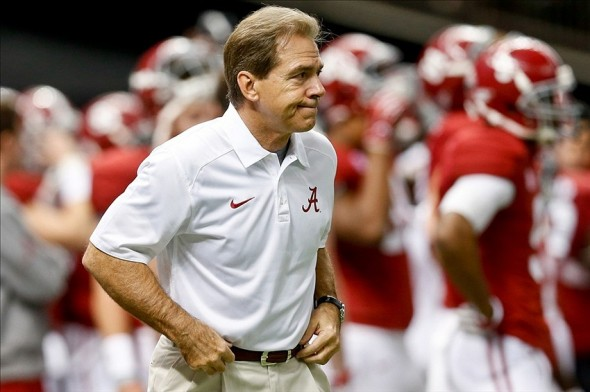 Jan 2, 2014; New Orleans, LA, USA; Alabama Crimson Tide head coach Nick Saban prior to kickoff of a game against the Oklahoma Sooners at the Mercedes-Benz Superdome. Mandatory Credit: Derick E. Hingle-USA TODAY Sports