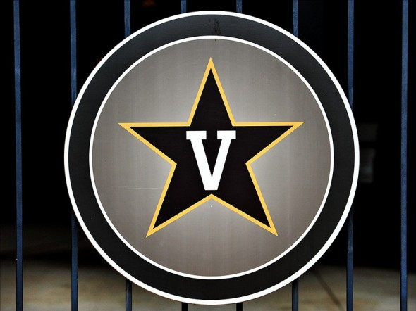 Jun 9, 2013; Nashville, TN, USA; Logo of the Vanderbilt Commodores who play the Louisville Cardinals during the Nashville super regional of the 2013 NCAA baseball tournament at Hawkins Field. Mandatory Credit: Jim Brown-USA TODAY Sports