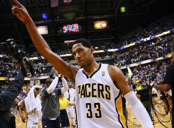 May 8, 2012; Indianapolis, IN, USA; Indiana Pacers small forward Danny Granger (33) points to the crowd after game five in the Eastern Conference quarterfinals of the 2012 NBA Playoffs at the Bankers Life Fieldhouse. Indiana defeated Orlando 105-87. Mandatory Credit: Michael Hickey-USA TODAY Sports