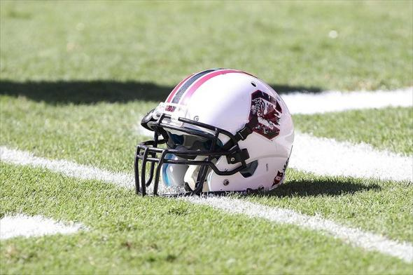 October 20, 2012; Gainesville FL, USA; South Carolina Gamecocks running back Marcus Lattimore (not pictured) helmet prior to the game against the Florida Gators at Ben Hill Griffin Stadium. Mandatory Credit: Kim Klement-USA TODAY Sports
