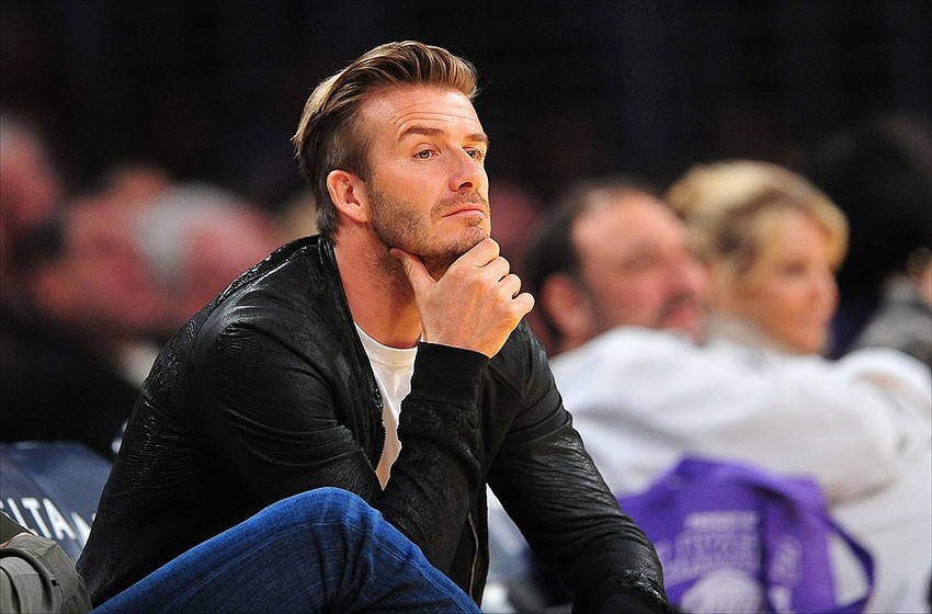 Former Los Angeles Galaxy soccer player David Beckham in attendance watches the Los Angeles Lakers play against the Orlando Magic during the second half at Staples Center. (Gary A. Vasquez-USA TODAY Sports)