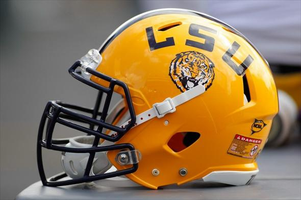 Oct 20, 2012; College Station, TX, USA; Detailed view of a LSU Tigers helmet on the sidelines against the Texas A&M Aggies in the third quarter at Kyle Field. Mandatory Credit: Brett Davis-USA TODAY Sports