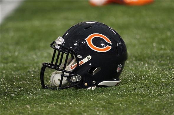 Dec 9, 2012; Minneapolis, MN, USA; Chicago Bears helmet against the Minnesota Vikings at the Metrodome. The Vikings defeated the Bears 21-14. Mandatory Credit: Brace Hemmelgarn-USA TODAY Sports