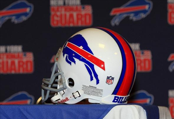 Jan 1, 2013; Orchard Park, NY, USA; A general view of a Buffalo Bills helmet at a press conference at Ralph Wilson Stadium. Mandatory Credit: Kevin Hoffman-USA TODAY Sports