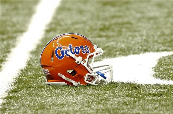 Jan 2, 2013; New Orleans, LA, USA; A Florida Gators helmet on the field prior to kickoff of the Sugar Bowl against the Louisville Cardinals at the Mercedes-Benz Superdome. Mandatory Credit: Derick E. Hingle-USA TODAY Sports