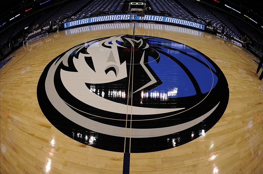 Feb 13, 2013; Dallas, TX, USA; A general view of the Dallas Mavericks logo at center court before the game between the Mavericks and the Sacramento Kings at the American Airlines Center. Mandatory Credit: Jerome Miron-USA TODAY Sports