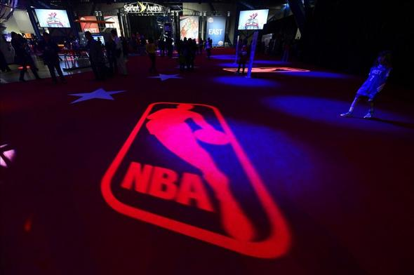 Feb 16, 2013; Houston, TX, USA; General view of the NBA logo and the Sprint Arena at the 2013 jam session for the NBA All-Star game at the George R. Brown Convention Center. Mandatory Credit: Bob Donnan-USA TODAY Sports