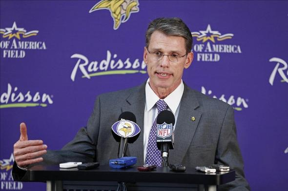 Apr 26, 2012; Eden Prairie, MN, USA; Minnesota Vikings general manager Rick Spielman addresses the media as he introduces the 2013 1st round draft picks at a press conference at Winter Park. Mandatory Credit: Bruce Kluckhohn-USA TODAY Sports