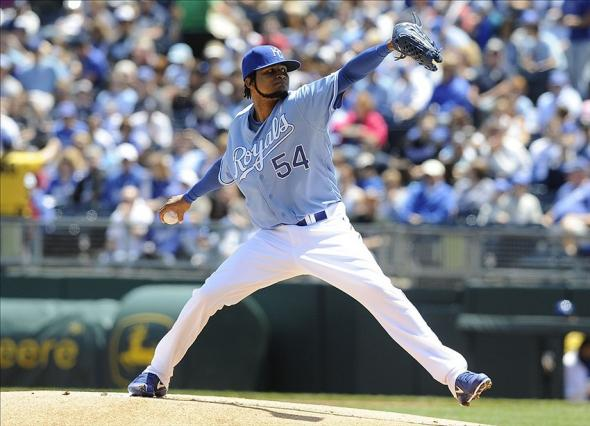 May 12, 2013; Kansas City, MO, USA; Kansas City Royals starting pitcher Ervin Santana (54) delivers a pitch in the first inning against the New York Yankees at Kauffman Stadium. Mandatory Credit: John Rieger-USA TODAY Sports
