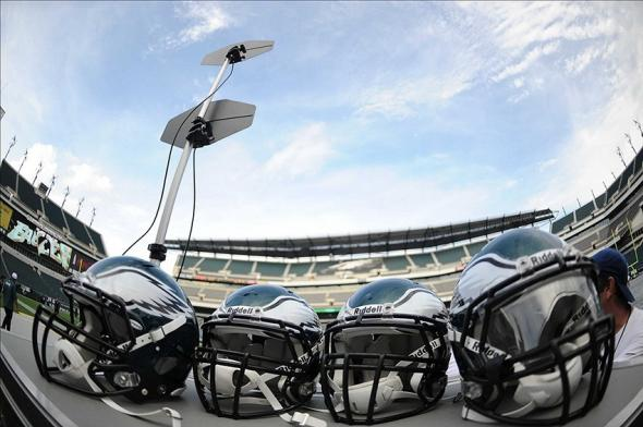 Aug 9, 2013; Philadelphia, PA, USA; A general view of Philadelphia Eagles helmets on the sideline area before the start of the preseason game against the New England Patriots at Lincoln Financial Field. Mandatory Credit: Joe Camporeale-USA TODAY Sports