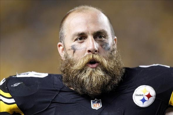 Aug 24, 2013; Pittsburgh, PA, USA; Pittsburgh Steelers defensive end Brett Keisel (99) reacts on the sidelines against the Kansas City Chiefs during the fourth quarter at Heinz Field. The Kansas City Chiefs won 26-20 in overtime. Mandatory Credit: Charles LeClaire-USA TODAY Sports