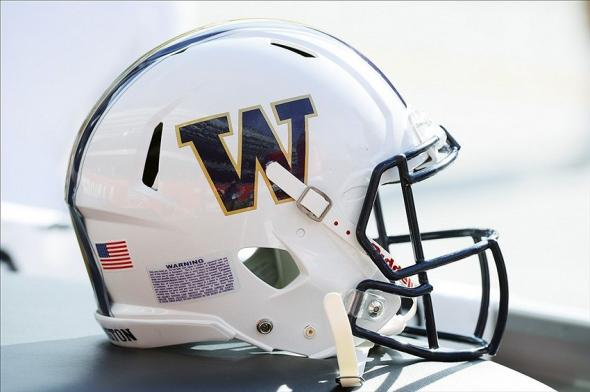 Sep 14, 2013; Chicago, IL, USA; A detailed view of the Washington Huskies helmet before the game at Soldier Field. Mandatory Credit: Mike DiNovo-USA TODAY Sports