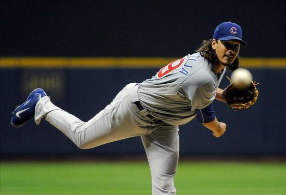Sep 17, 2013; Milwaukee, WI, USA; Chicago Cubs pitcher Jeff Samardzija pitches in the first inning against the Milwaukee Brewers at Miller Park. Mandatory Credit: Benny Sieu-USA TODAY Sports