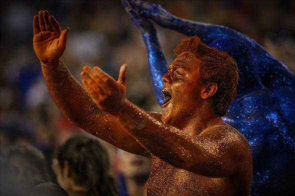 Oct 5, 2013; Gainesville, FL, USA; Florida fans cheer after the Gators score a touchdown during the first half of the game against the Arkansas Razorbacks at Ben Hill Griffin Stadium. Mandatory Credit: Rob Foldy-USA TODAY Sports