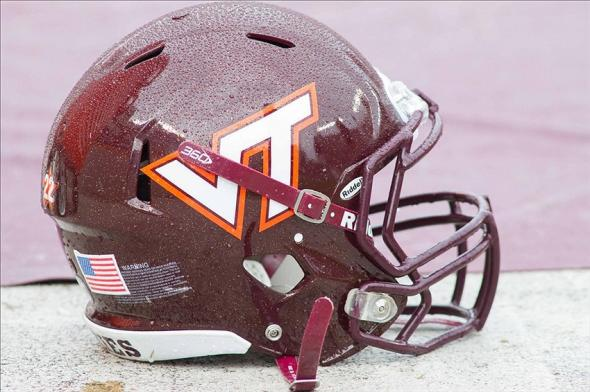 Oct 12, 2013; Blacksburg, VA, USA; A Virginia Tech Hokies helmet lays on the sidelines during the fourth quarter against the Pittsburgh Panthers at Lane Stadium. The Hokies defeated Pitt 19-9. Mandatory Credit: Jeremy Brevard-USA TODAY Sports