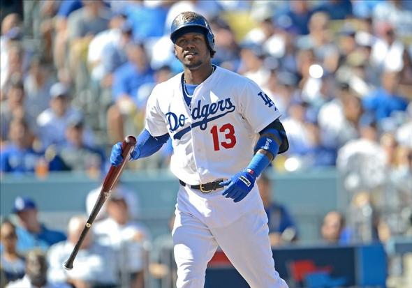 October 16, 2013; Los Angeles, CA, USA; Los Angeles Dodgers shortstop Hanley Ramirez (13) at bat during game five of the National League Championship Series against the St. Louis Cardinals at Dodger Stadium. Mandatory Credit: Jayne Kamin-Oncea-USA TODAY Sports