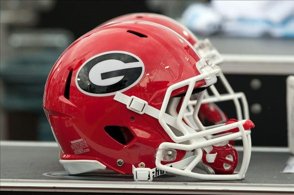 Nov 2, 2013; Jacksonville, FL, USA; A Georgia Bulldogs helmet sits on the sideline during the first half of the game against the Florida Gators at EverBank Field. Mandatory Credit: Rob Foldy-USA TODAY Sports