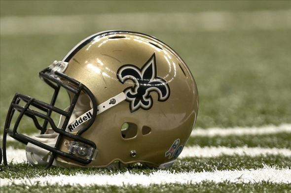 Nov 10, 2013; New Orleans, LA, USA; A detail of a New Orleans Saints helmet prior to a game against the Dallas Cowboys at Mercedes-Benz Superdome. Mandatory Credit: Derick E. Hingle-USA TODAY Sports
