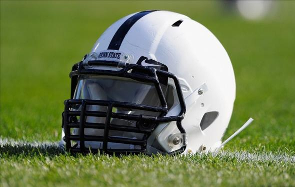 Nov 16, 2013; University Park, PA, USA; General view of a Penn State Nittany Lions helmet prior to the game against the Purdue Boilermakers at Beaver Stadium. Mandatory Credit: Rich Barnes-USA TODAY Sports