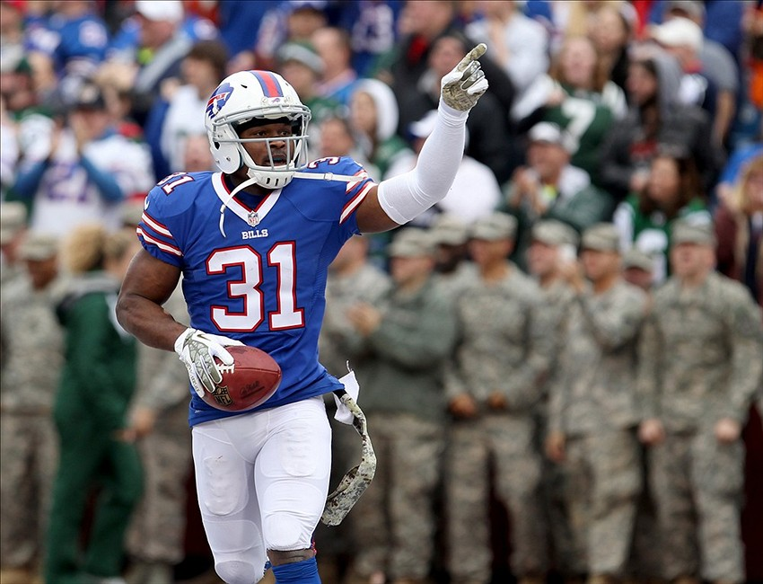 Nov 17, 2013; Orchard Park, NY, USA; Buffalo Bills free safety Jairus Byrd (31) celebrates his first half interception against the New York Jets at Ralph Wilson Stadium.
