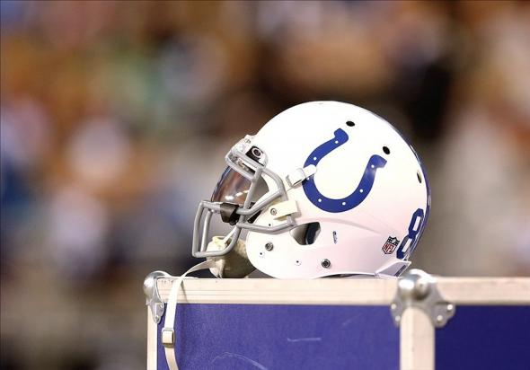 Nov 24, 2013; Phoenix, AZ, USA; Detailed view of an Indianapolis Colts helmet against the Arizona Cardinals at University of Phoenix Stadium. The Cardinals defeated the Colts 40-11. Mandatory Credit: Mark J. Rebilas-USA TODAY Sports