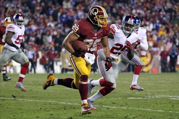 Washington Redskins running back Roy Helu vs New York Giants.