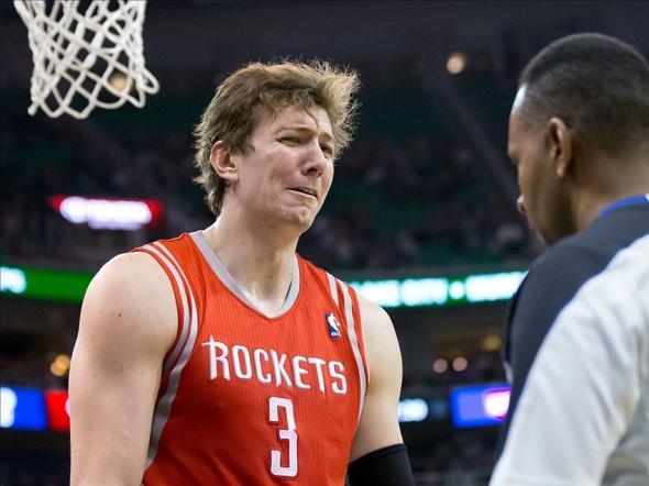 Dec 2, 2013; Salt Lake City, UT, USA; Houston Rockets center Omer Asik (3) reacts to a call during the first half against the Utah Jazz at EnergySolutions Arena. Mandatory Credit: Russ Isabella-USA TODAY Sports
