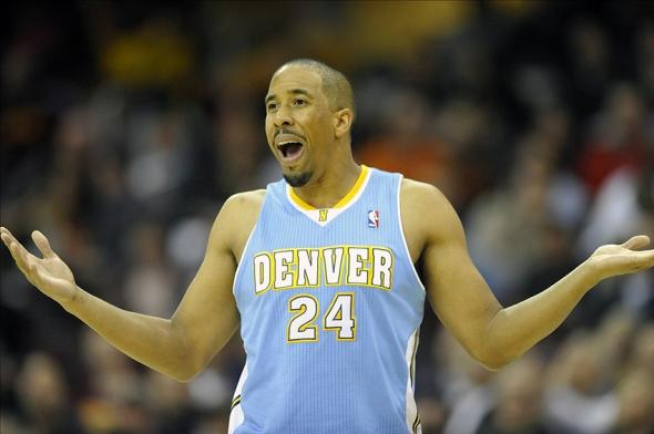 Dec 4, 2013; Cleveland, OH, USA; Denver Nuggets point guard Andre Miller (24) reacts after he was called for a technical foul in the third quarter against the Cleveland Cavaliers at Quicken Loans Arena. Mandatory Credit: David Richard-USA TODAY Sports