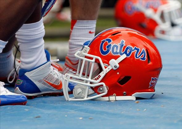 Nov 30, 2013; Gainesville, FL, USA; Florida Gators helmet against the Florida State Seminoles during the second quarter at Ben Hill Griffin Stadium. Mandatory Credit: Kim Klement-USA TODAY Sports