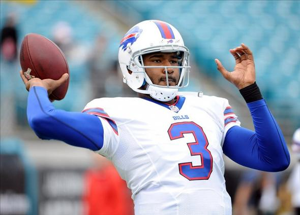 Dec 15, 2013; Jacksonville, FL, USA; Buffalo Bills quarterback EJ Manuel (3) warms up before the game against the Jacksonville Jaguars at EverBank Field. Mandatory Credit: Melina Vastola-USA TODAY Sports