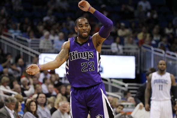 Dec 21, 2013; Orlando, FL, USA;Sacramento Kings shooting guard Marcus Thornton (23) reacts after he made a three pointer against the Orlando Magic during the second half at Amway Center. Sacramento Kings defeated the Orlando Magic 105-100. Mandatory Credit: Kim Klement-USA TODAY Sports
