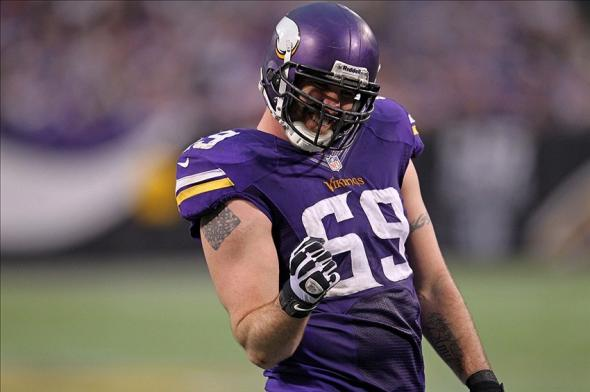 Dec 15, 2013; Minneapolis, MN, USA; Minnesota Vikings defensive end Jared Allen (69) against the Philadelphia Eagles at Mall of America Field at H.H.H. Metrodome. The Vikings defeated the Eagles 48-30. Mandatory Credit: Brace Hemmelgarn-USA TODAY Sports