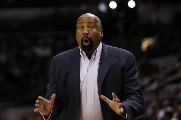 Jan 2, 2014; San Antonio, TX, USA; New York Knicks head coach Mike Woodson reacts to a call during the second half against the San Antonio Spurs at AT&T Center. The Knicks won 105-101. Mandatory Credit: Soobum Im-USA TODAY Sports