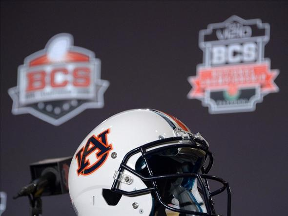 Jan 3, 2014; Newport Beach, CA, USA; General view of an Auburn Tigers helmet at a 2014 BCS National Championship press conference at Newport Beach Marriott. Mandatory Credit: Kirby Lee-USA TODAY Sports