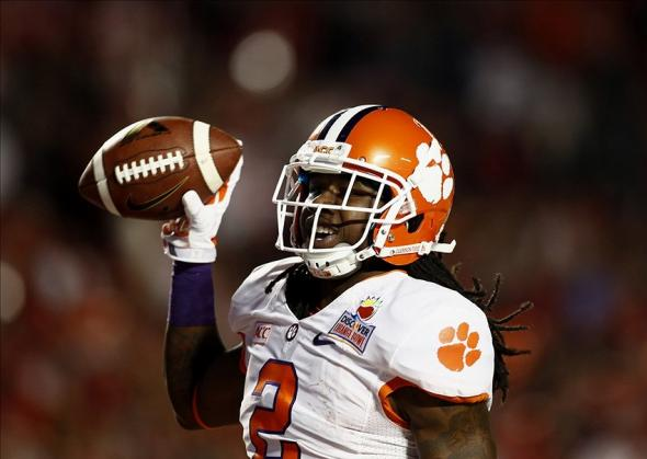 Jan 3, 2014; Miami Gardens, FL, USA; Clemson Tigers wide receiver Sammy Watkins (2) reacts after scoring a touchdown against the Ohio State Buckeyes in the first half of the 2014 Orange Bowl college football game at Sun Life Stadium. Mandatory Credit: Robert Mayer-USA TODAY Sports