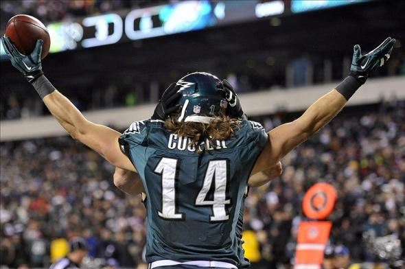 Jan 4, 2014; Philadelphia, PA, USA; Philadelphia Eagles wide receiver Riley Cooper (14) celebrates a touchdown catch against the New Orleans Saints during the first half 2013 NFC wild card playoff football game at Lincoln Financial Field. Mandatory Credit: Joe Camporeale-USA TODAY Sports