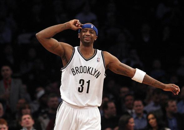 Jan 6, 2014; Brooklyn, NY, USA; Brooklyn Nets shooting guard Jason Terry (31) reacts after missing a three point shot against the Atlanta Hawks during the first quarter of a game at Barclays Center. Mandatory Credit: Brad Penner-USA TODAY Sports