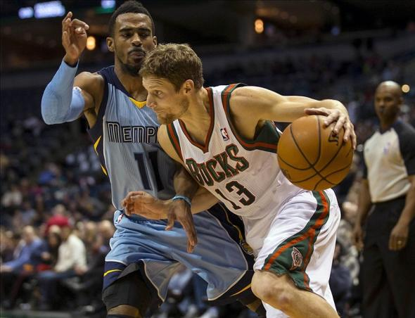 Jan 15, 2014; Milwaukee, WI, USA; Milwaukee Bucks guard Luke Ridnour (13) drives for the basket as Memphis Grizzlies guard Mike Conley (11) defends during the third quarter at BMO Harris Bradley Center. Mandatory Credit: Jeff Hanisch-USA TODAY Sports
