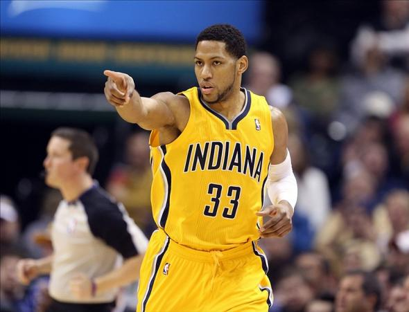 Jan 16, 2014; Indianapolis, IN, USA; Indiana Pacers forward Danny Granger (33) reacts after scoring a basket during a game against the New York Knicks at Bankers Life Fieldhouse. Mandatory Credit: Brian Spurlock-USA TODAY Sports