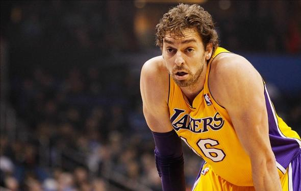 Jan 24, 2014; Orlando, FL, USA; Los Angeles Lakers center Pau Gasol (16) against the Orlando Magic during the first quarter at Amway Center. Mandatory Credit: Kim Klement-USA TODAY Sports