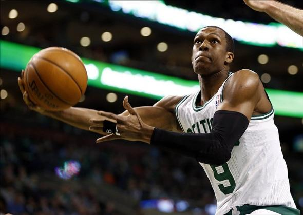 Jan 24, 2014; Boston, MA, USA; Boston Celtics point guard Rajon Rondo (9) shoots the ball against the Oklahoma City Thunder during the second half at TD Garden. Mandatory Credit: Mark L. Baer-USA TODAY Sports