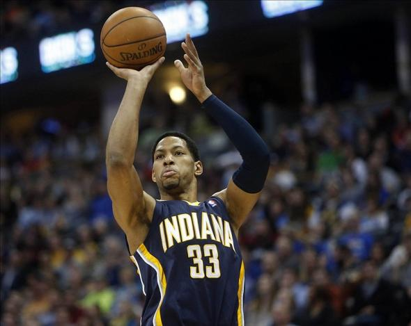 Jan 25, 2014; Denver, CO, USA; Indiana Pacers forward Danny Granger (33) shoots the ball during the first half against the Denver Nuggets at Pepsi Center. Mandatory Credit: Chris Humphreys-USA TODAY Sports