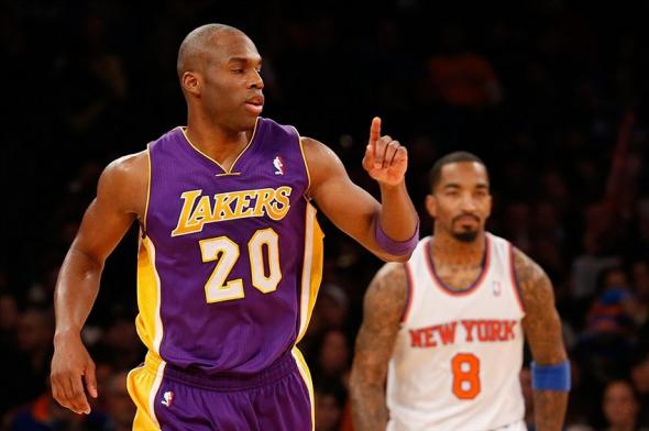 Jan 26, 2014; New York, NY, USA; Los Angeles Lakers shooting guard Jodie Meeks (20) reacts after scoring during the third quarter against the New York Knicks at Madison Square Garden. The Knicks won 110-103. Mandatory Credit: Anthony Gruppuso-USA TODAY Sports