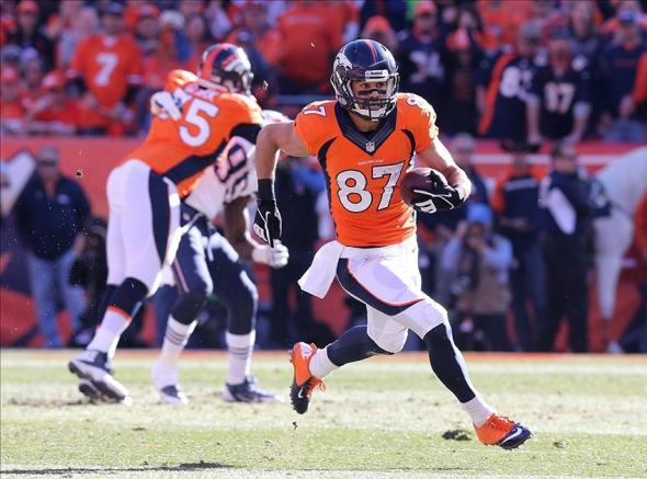 Jan 19, 2014; Denver, CO, USA; Denver Broncos receiver Eric Decker (87) runs with the ball in the first half during the 2013 AFC Championship game at Sports Authority Field against the New England Patriots at Mile High. Mandatory Credit: Matthew Emmons-USA TODAY Sports