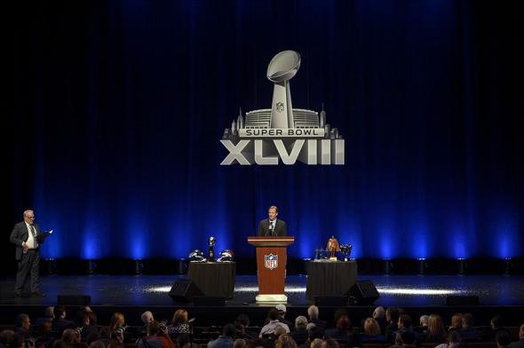 Jan 31, 2014; New York, NY, USA; NFL commissioner Roger Goodell addresses the media at Rose Theater in advance of Super Bowl XLVIII. Mandatory Credit: Joe Camporeale-USA TODAY Sports