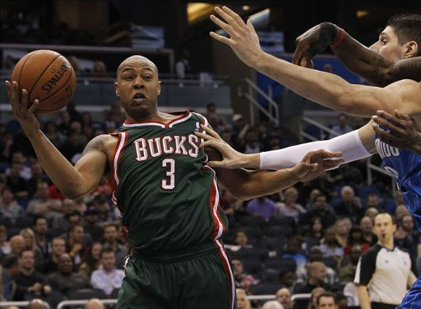 Jan 31, 2014; Orlando, FL, USA; Milwaukee Bucks small forward Caron Butler (3) grabs a rebound against the Orlando Magic during the second half at Amway Center. Orlando Magic won 113-102. Mandatory Credit: Kim Klement-USA TODAY Sports