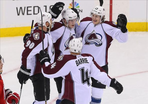 Feb 3, 2014; Newark, NJ, USA; The Colorado Avalanche celebrate a game winning goal by Colorado Avalanche center Ryan O