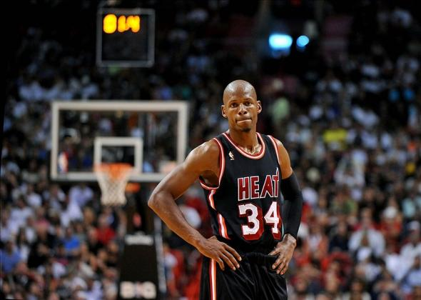 Jan 26, 2014; Miami, FL, USA; Miami Heat shooting guard Ray Allen (34) during the second half against the San Antonio Spurs at American Airlines Arena. Mandatory Credit: Steve Mitchell-USA TODAY Sports