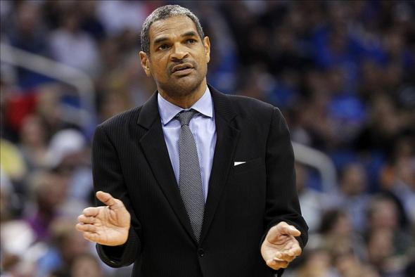 Feb 5, 2014; Orlando, FL, USA; Detroit Pistons head coach Maurice Cheeks reacts from the sidelines against the Orlando Magic during the second quarter at Amway Center. Mandatory Credit: Kim Klement-USA TODAY Sports