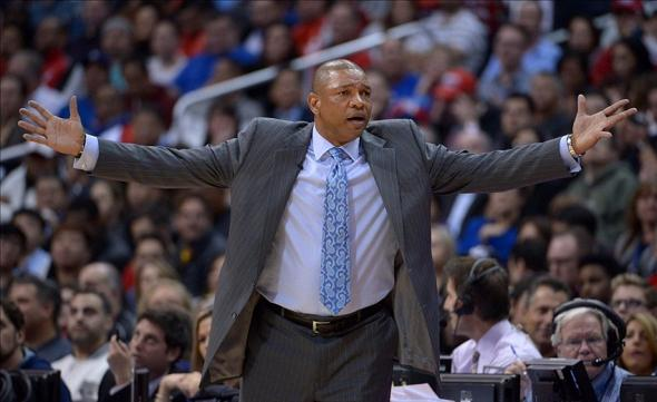 Feb 5, 2014; Los Angeles, CA, USA; Los Angeles Clippers coach Doc Rivers reacts during the game against the Miami Heat at Staples Center. Mandatory Credit: Kirby Lee-USA TODAY Sports